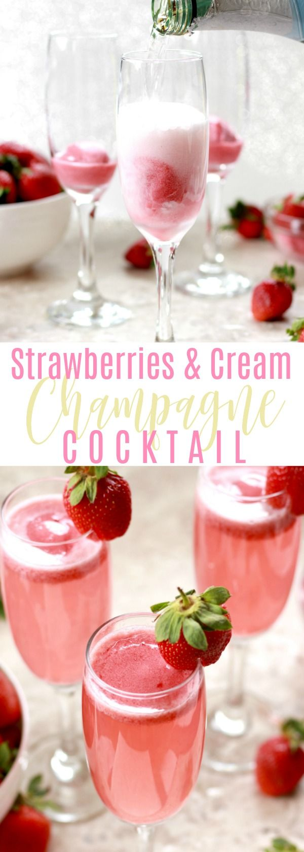 Strawberries & Cream Champagne Cocktail - The Lucky Pear