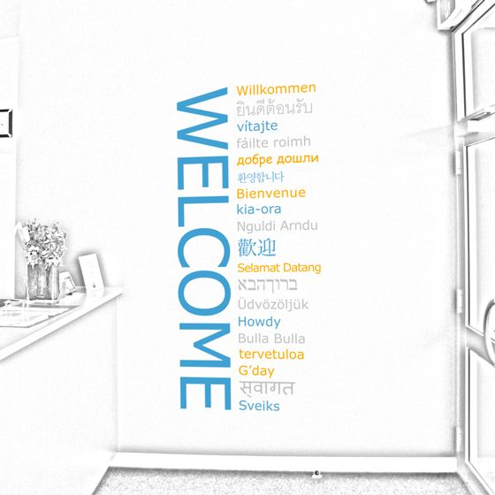 Welcome Sign Many Languages Wall Sticker Decal Art Vinyl Mural Office Shop Home