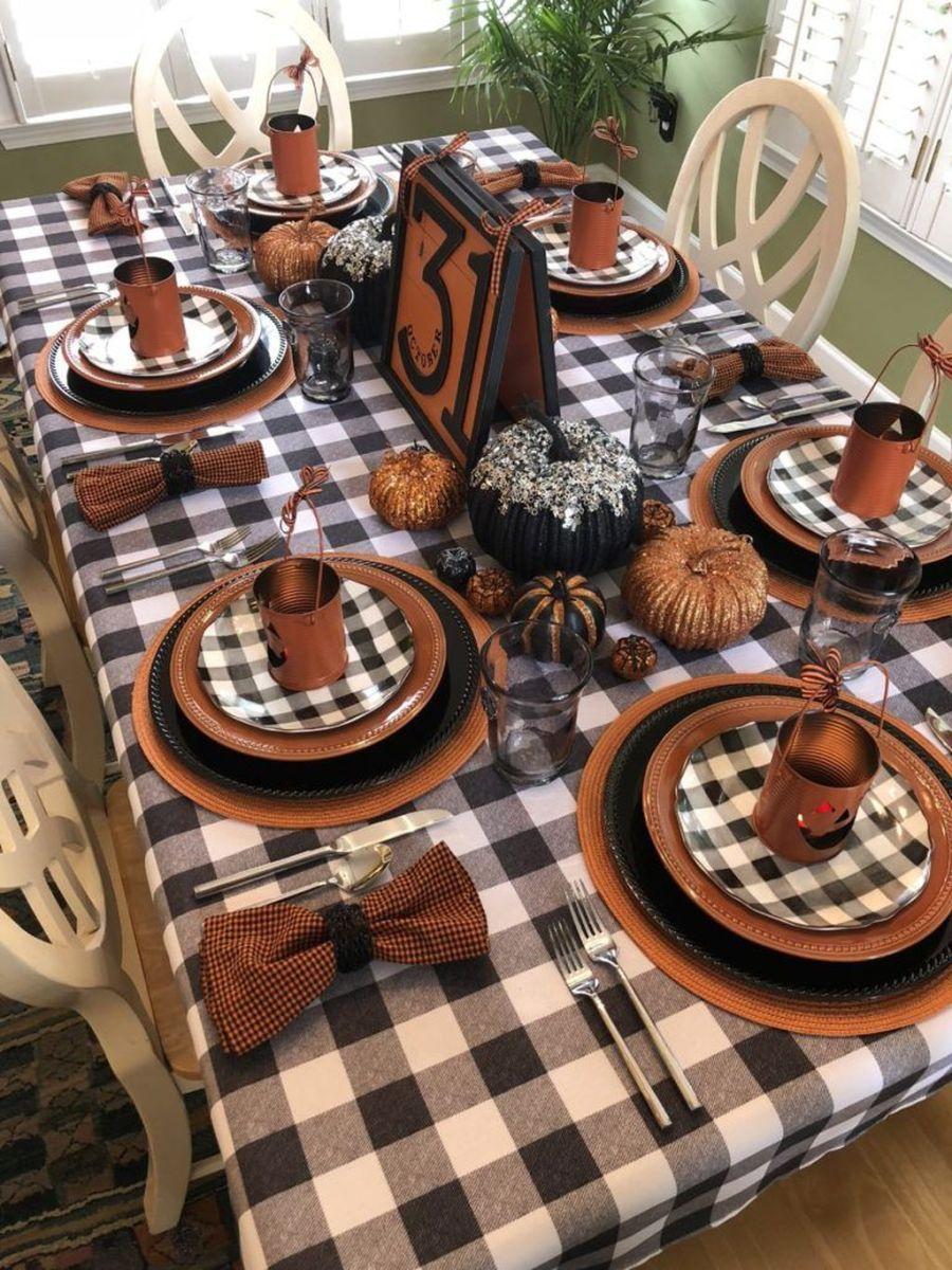 43 Stunning Halloween Decorations Indoor Ideas Halloween Tablescape Halloween Table Fall Table Decor