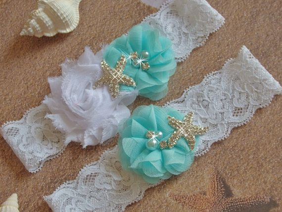 Wedding Party Ceremony Real Starfish Beach Satin Lace Garter  Blue Toss