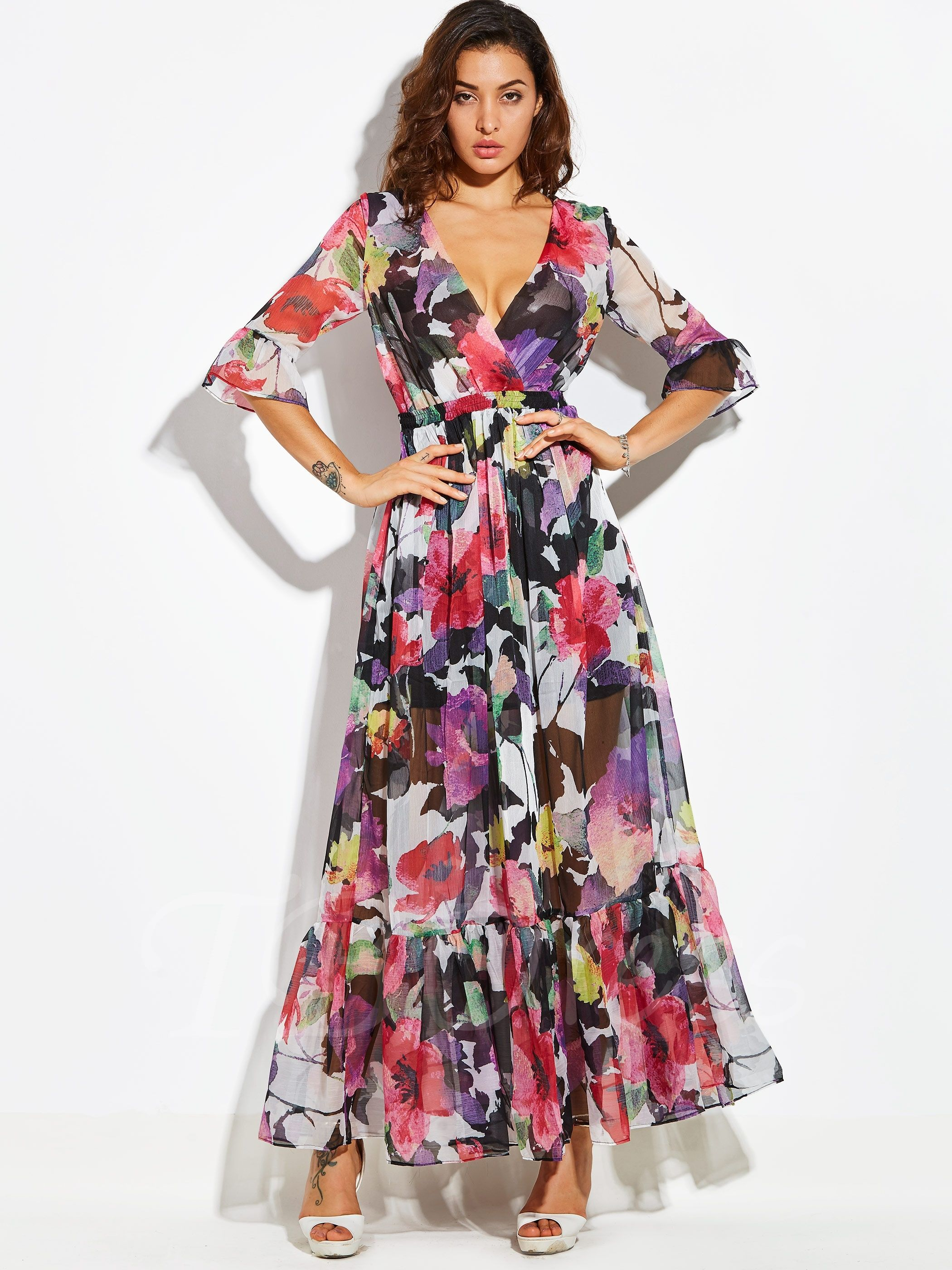 d8ca747164b Bohemian Floral Long Sleeve V Neck Vacation Women s Maxi Dress in ...
