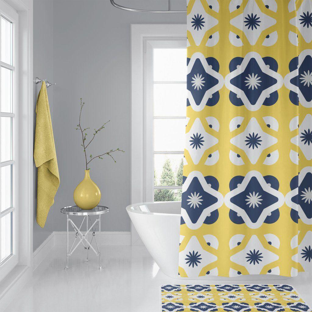 geometric shower curtain and bath mat