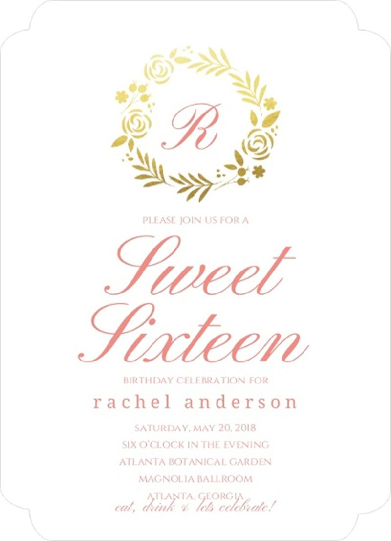 Classic Pink Gold Foil Wreath Sweet Sixteen Birthday Invitation ...
