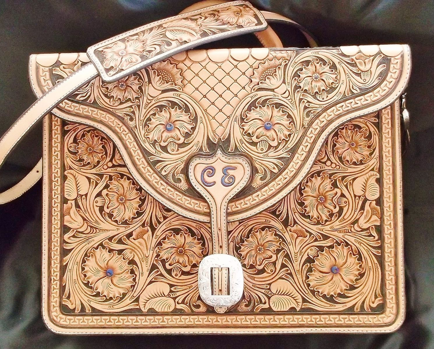 Custom made hand carved floral tooled briefcase leather