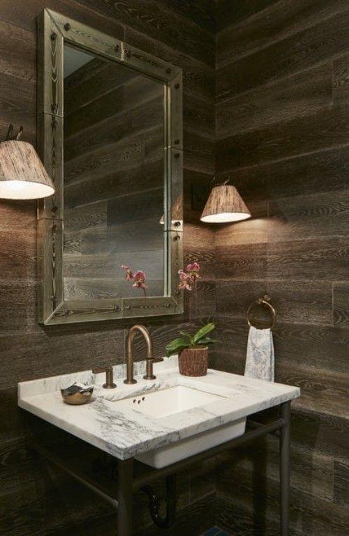 Einrichtung Rustikales Badezimmer Holzwände