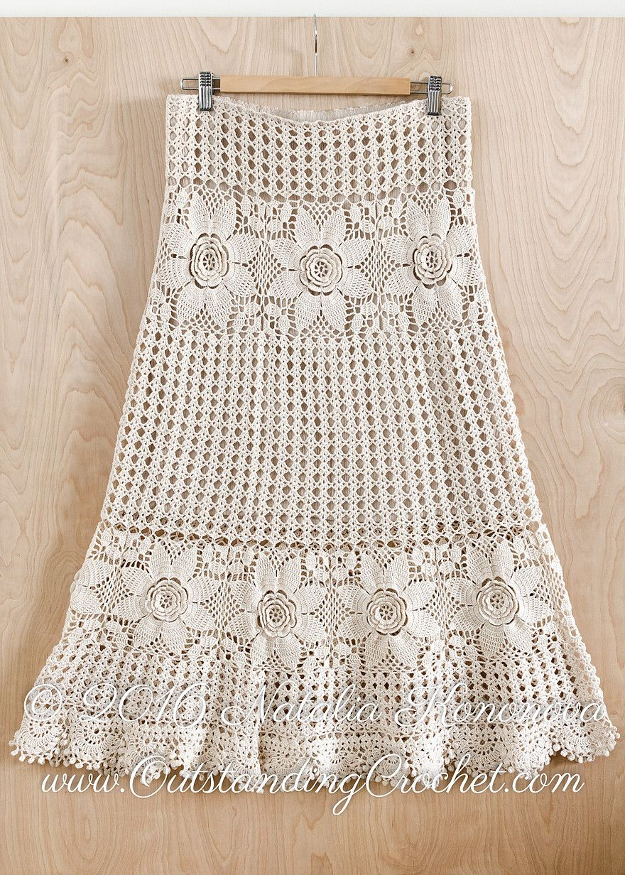 Tiered long maxi crochet skirt crochet pattern tutorial with