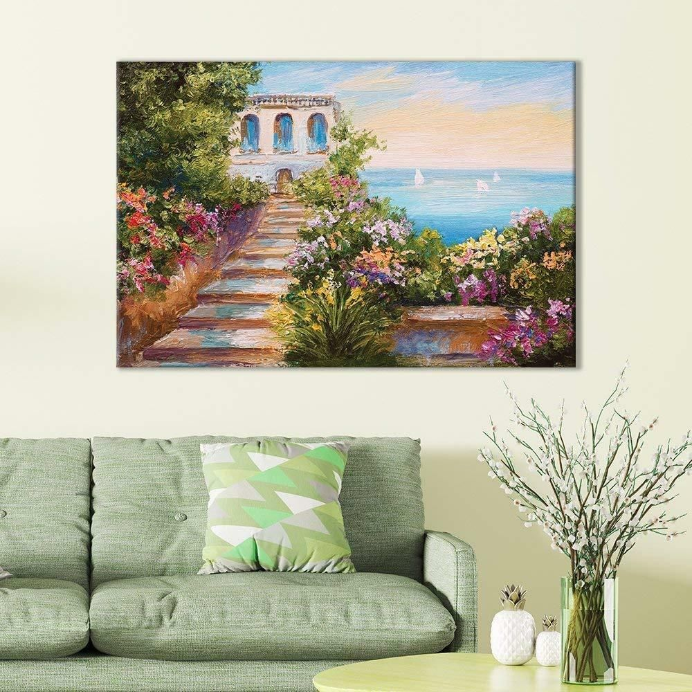 Wall26 Of European Villa Overlooking Ocean Oil Painting Cvs 12 X 18 Wall Canvas Painting Painting Canvas Wall Art