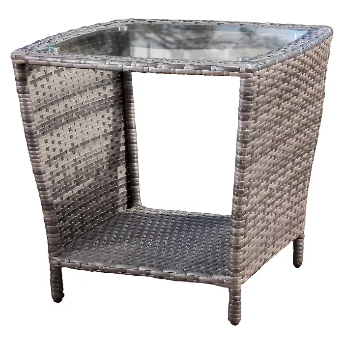 Weston Wicker With Glass Top Patio Side Table Christopher Knight Home In 2020 With Images