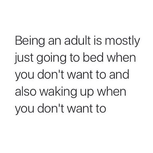 Being an adult is mostly just going to bed when you don't want to and also waking up when you don't want to.