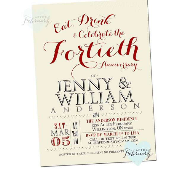 40th anniversary invitation 40th wedding anniversary invite 40th anniversary invitation 40th wedding by afterfebruary on etsy stopboris Image collections