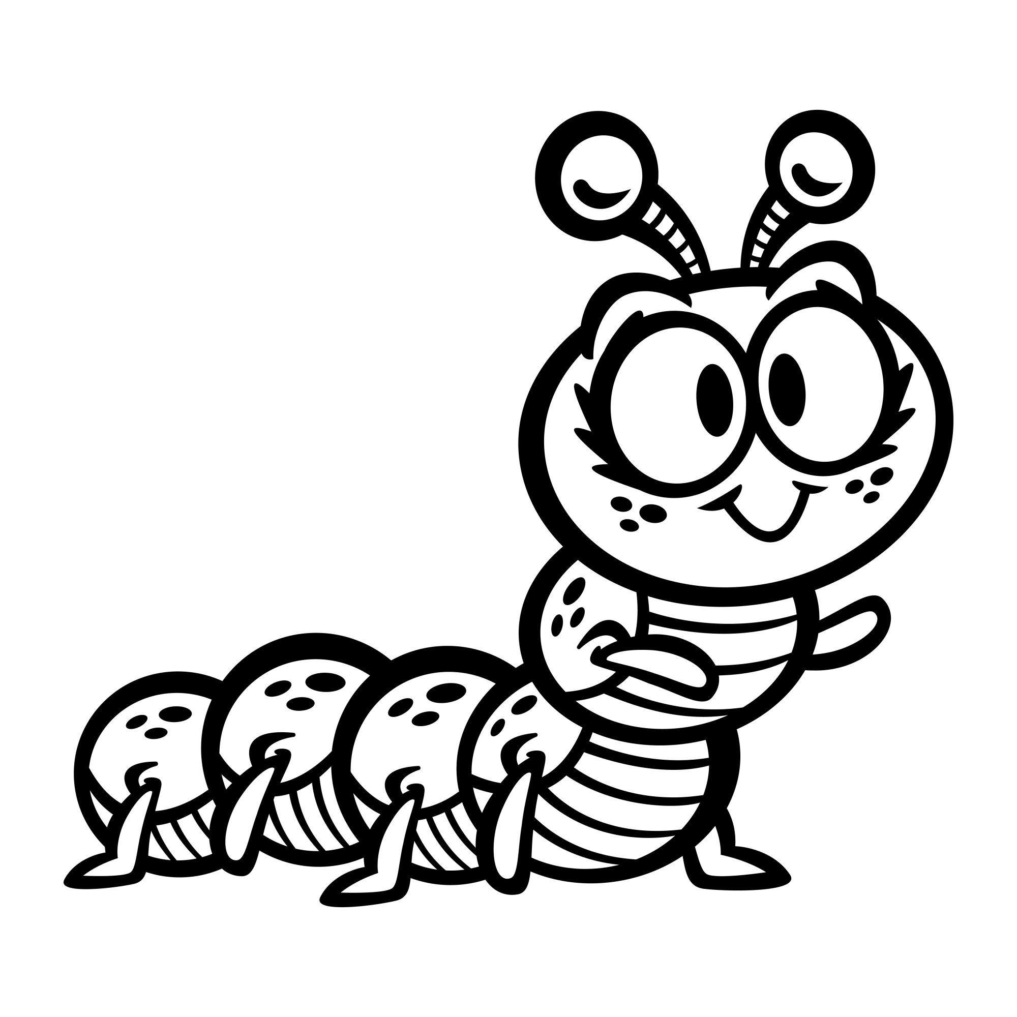 Caterpillar Bug Cartoon Clip Art Clipart Black And White Bug Cartoon