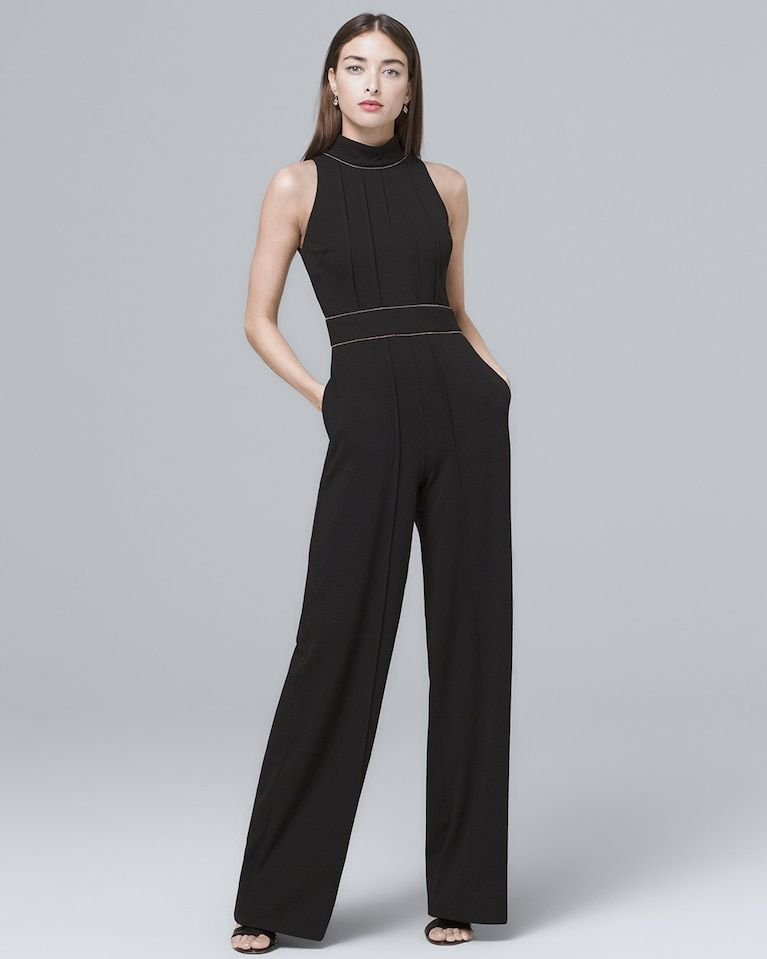 3f394f7cc972 Women s Badgley Mischka Pintucked Black Halter Jumpsuit by White House  Black Market