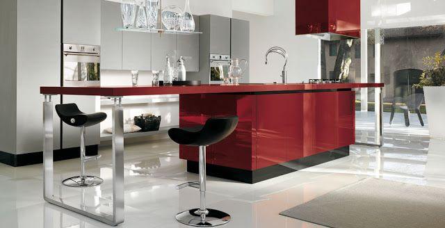 cocina roja y gris cocinas Pinterest Rojo pasion, Cocina roja