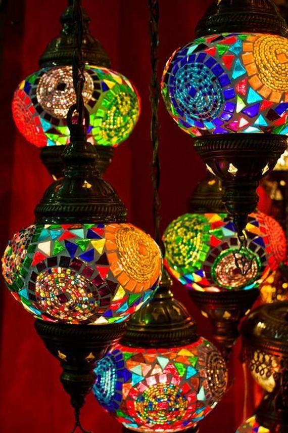 Turkish Pendant Mosaic Lamp 7 Globe Moroccan Style