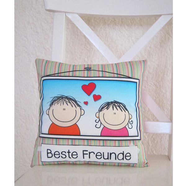Beste Freunde Kissen 30x30 Cm Von Kuschelich Auf Dawanda Com
