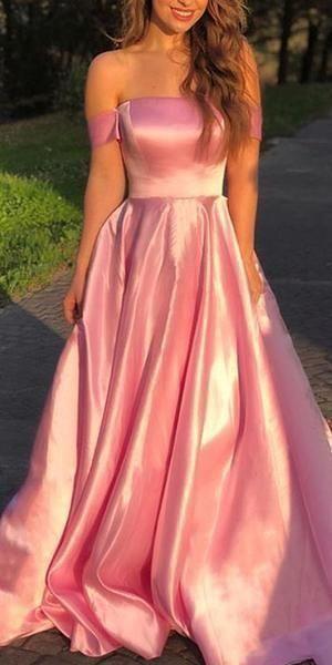 Off Shoulder Straight Neckline A-Line Backless Prom Dresses ML3644