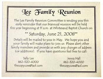 Family Reunion Ideas  Family Reunion Invitation  Our Family