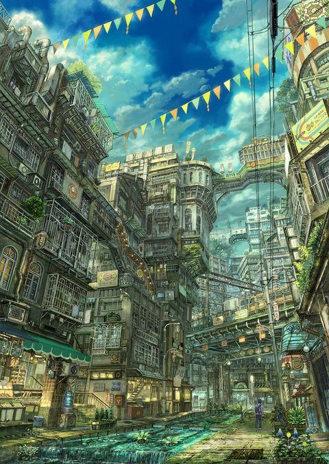 電車の見える街 街並み イラスト ファンタジーな風景 風景