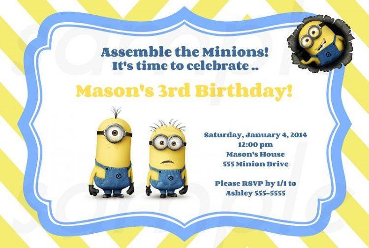 7 Year Old Birthday Invitation Templates Free Minion Invitations Printable