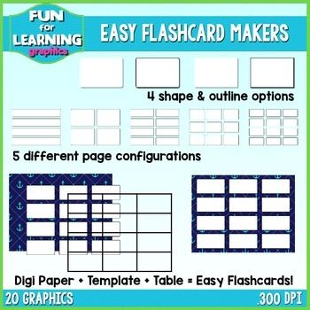 Freebie Easy Flashcard Makers Clipart Collection Flashcard Maker Flashcards Classroom Clipart