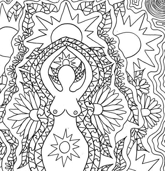 Litha Coloring Page Goddess Art Summer Solstice Sabbat Sacred Etsy Mandala Coloring Pages Coloring Pages Sun Coloring Pages
