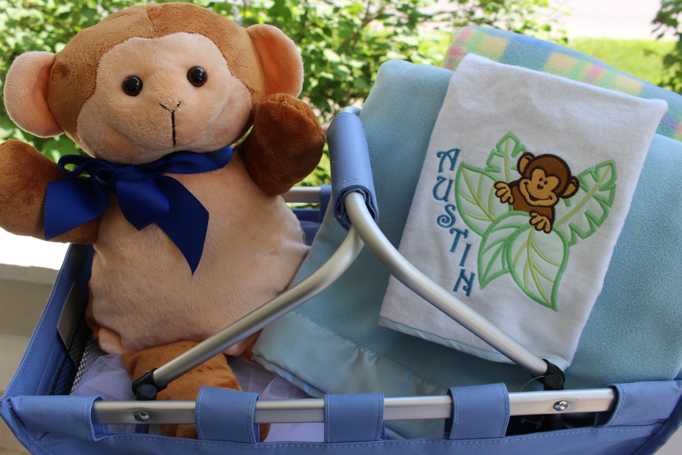Personalized little monkey baby gift set personalized baby personalized little monkey baby gift set personalized baby blanket personalized plush toy embroidered negle Images