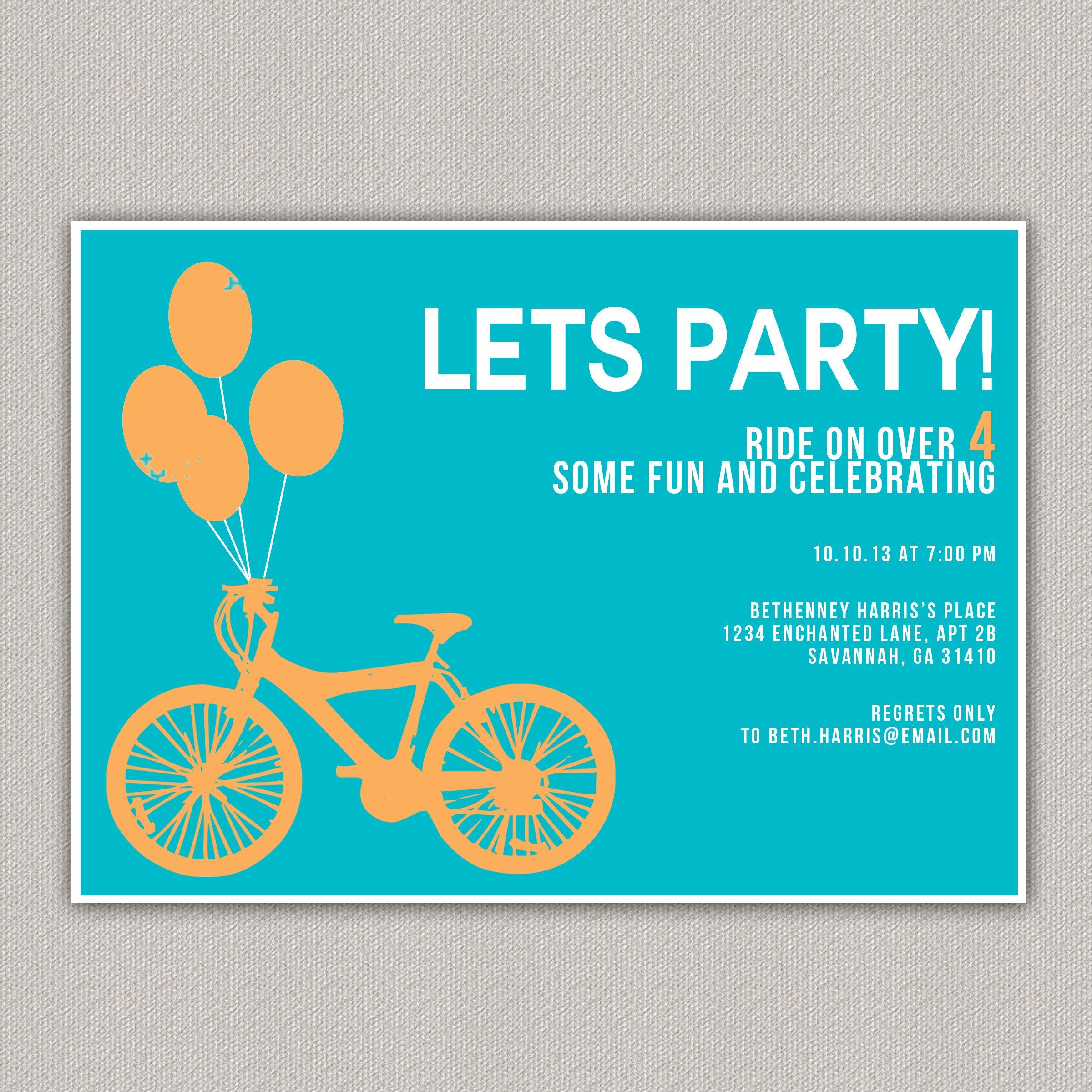 Bicycle Party Invitation Custom Bike Enchanted Designs