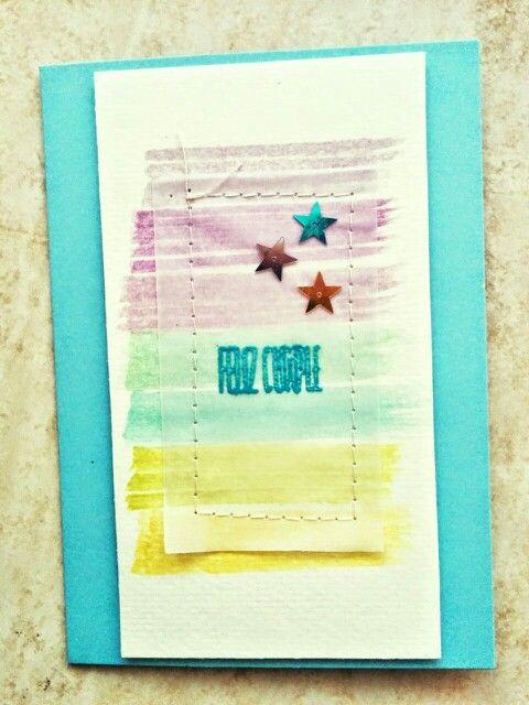 "Tarjeta cumple azul para reto ""Crea tu propio papel decorado"" para la marca www.laparejacreativa.com/blog"