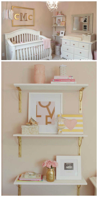A Glamorous Nursery For Clara Project Nursery Nursery Shelves Baby Decor Nursery Shelf Decor