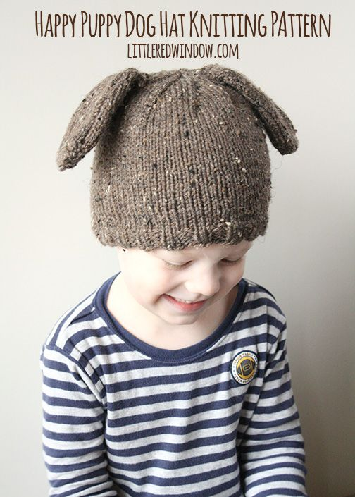 Happy Puppy Dog Hat Knitting Pattern | littleredwindow.com | Make a sweet and simple Puppy Dog hat with floppy ears!