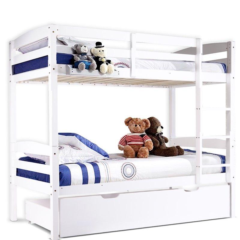 New Bunk Beds Single Frame Solid Pine Children Wooden Bed Kids