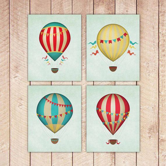 8x10 Printable Hot Air Balloon Nursery Prints, Art