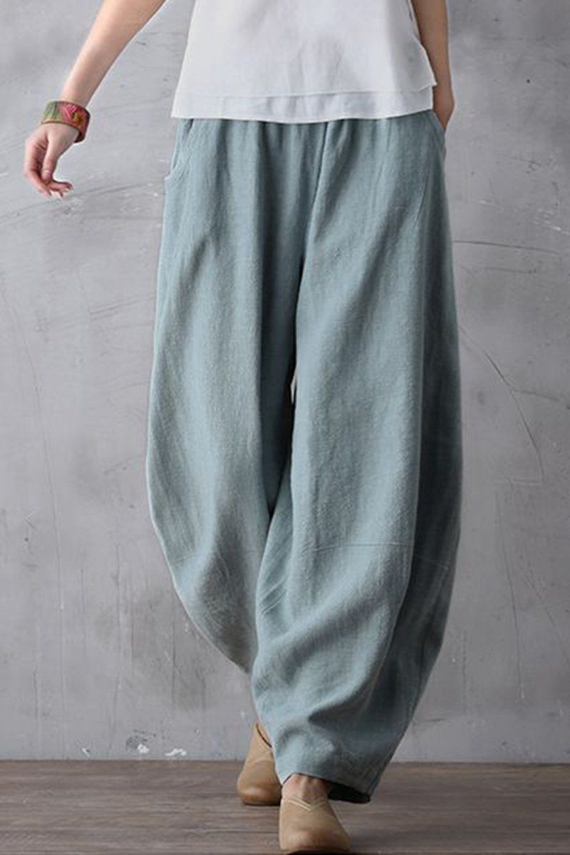 Women's Clothing Pants & Capris Plus Size Hot Sale Solid Women Wide Leg Casual Loose Palazzo Trousers Elegant High Waist Pants New Arrivals 8 Colors Ladies Bright And Translucent In Appearance