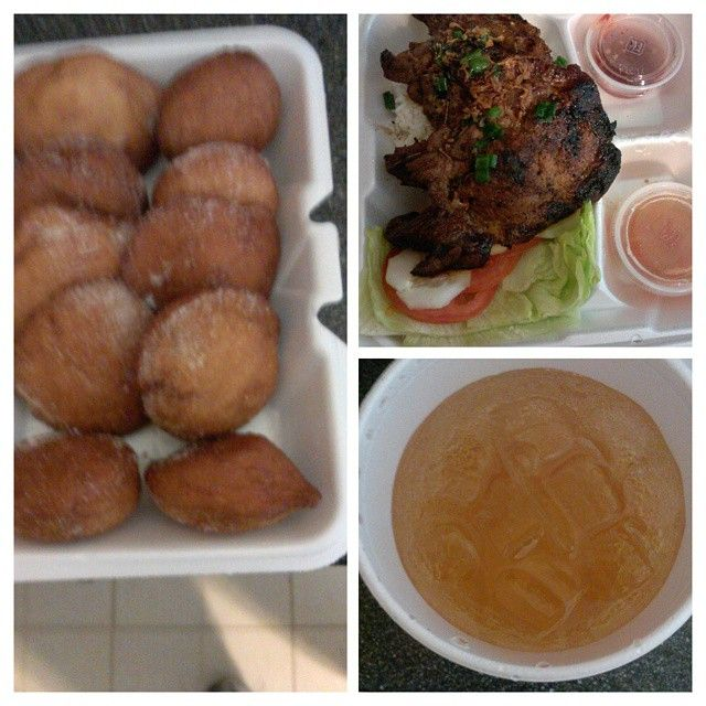 """""""Vietnamese grilled pork chop on jasmine rice, fried donuts and ginger ale. This was my brunch last Monday. It was good too.  #GoodEatsInTheRVA…"""""""