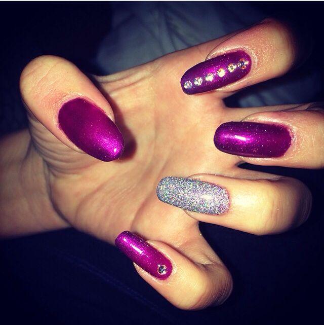 purple with silver glitter | nails | Pinterest | Arte uñas y Arte