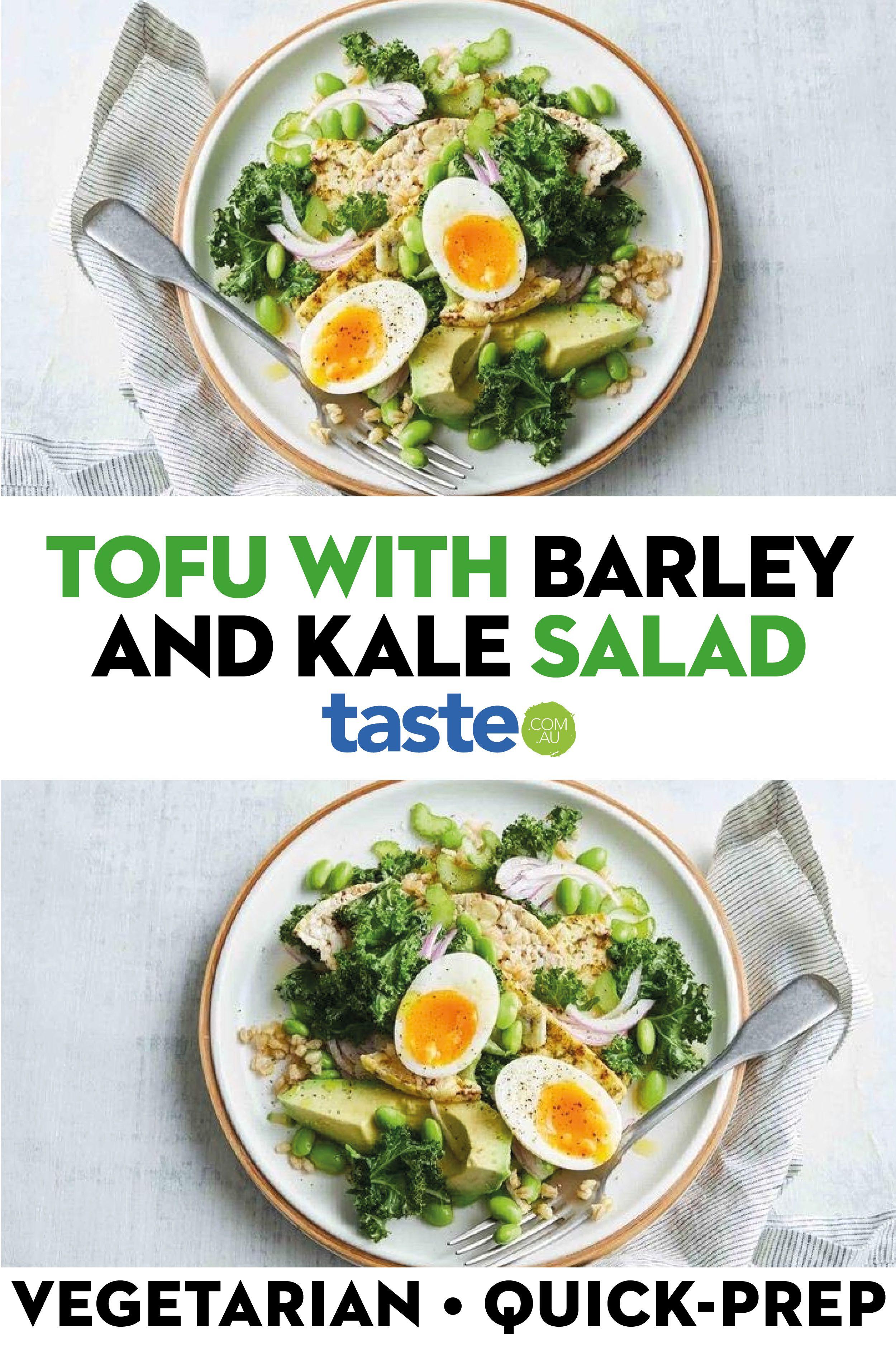 Lemon Garlic Tofu With Barley And Kale Salad In 2020 Vegetarian Recipes Easy Salads Kale Salad