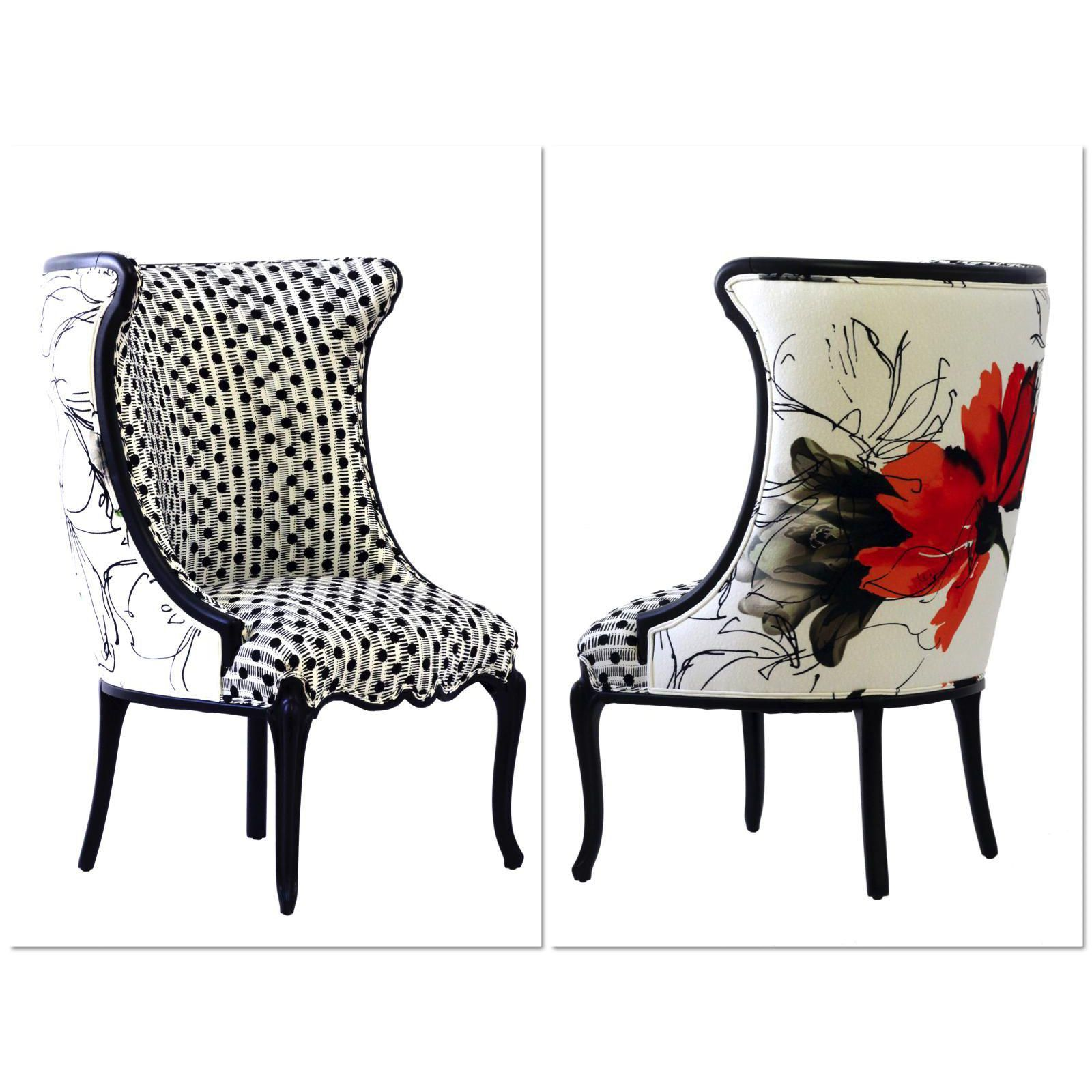 """Black and White Upholstered """"Flora"""" Chair Image 2 of 6"""