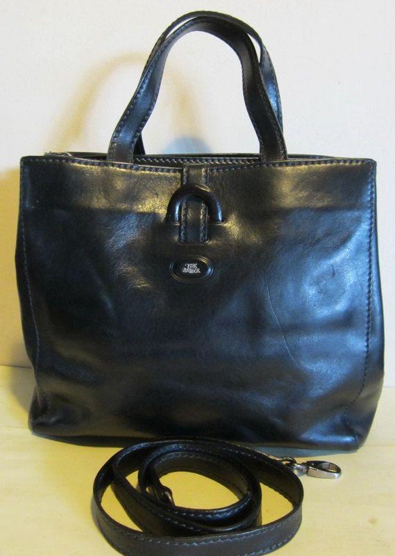 Fab Italian Vintage Black Leather Handbag By The Bridge Firenze Italy