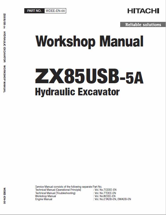 Hitachi Zx85usb 5a Excavator Service Manual Electrical Circuit Diagram Hitachi Excavator