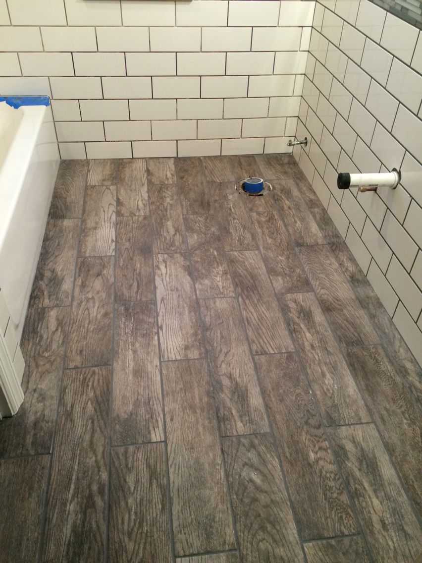 Master Bathroom Home Depot marazzi tile rustic from home depot with pewter grout | bathroom