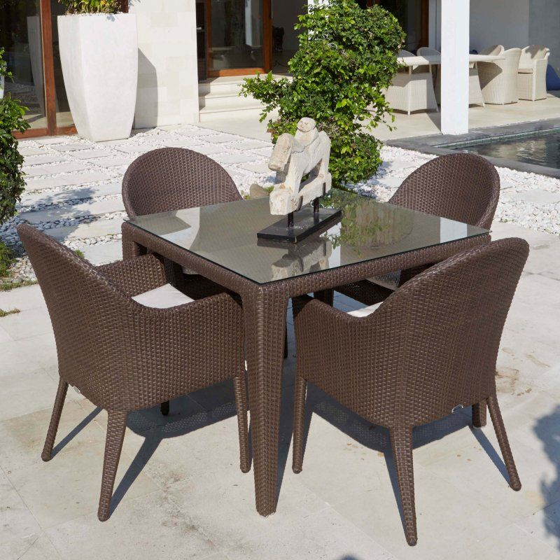 Marvelous Outdoor Hospitality Rattan Kenya 5 Piece Patio Dining Set Home Remodeling Inspirations Propsscottssportslandcom