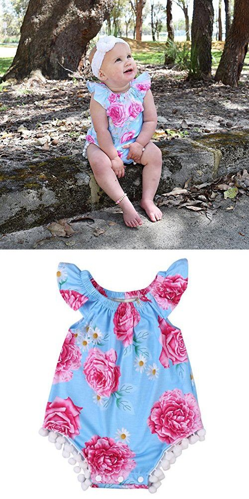 f2e41709f283 Newborn Baby Girl Clothes Floral Romper Sleeveless Infant Jumpsuit Outfit (6 -12 Months)