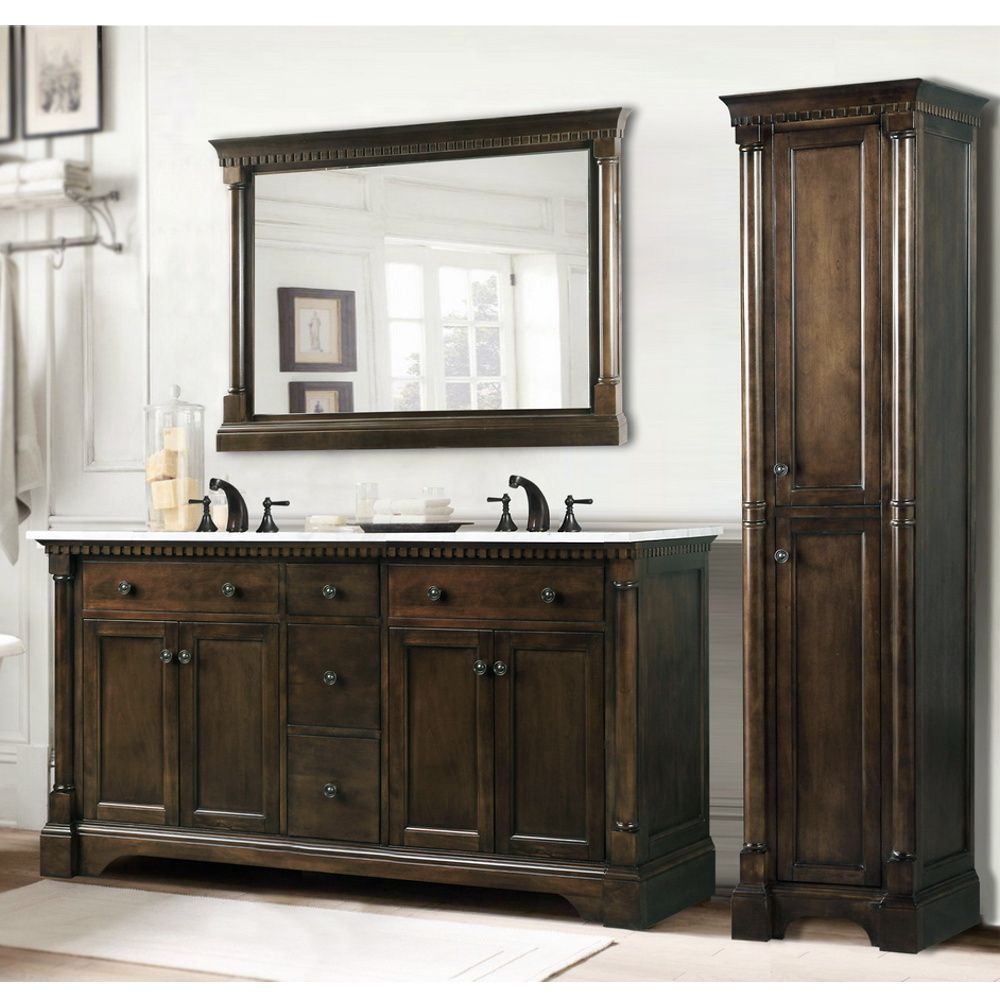 Carrara White Marble Top 60 Inch Double Sink Coffee Bean Bathroom Vanity 3 Piece Set Overstock