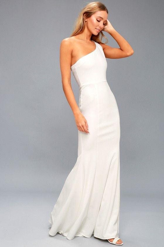 bdf43f583a31 Lulus | Brittany White One-Shoulder Maxi Dress | Size X-Large | 100%  Polyester