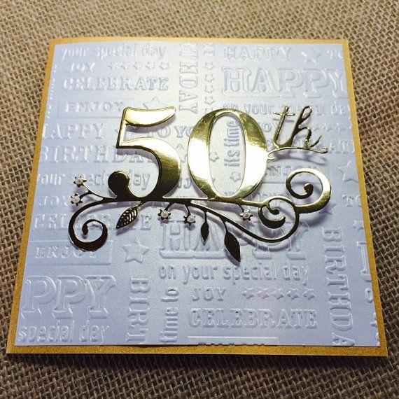 50th Birthday Card Handmade Golden Birthday Card Happy Birthday