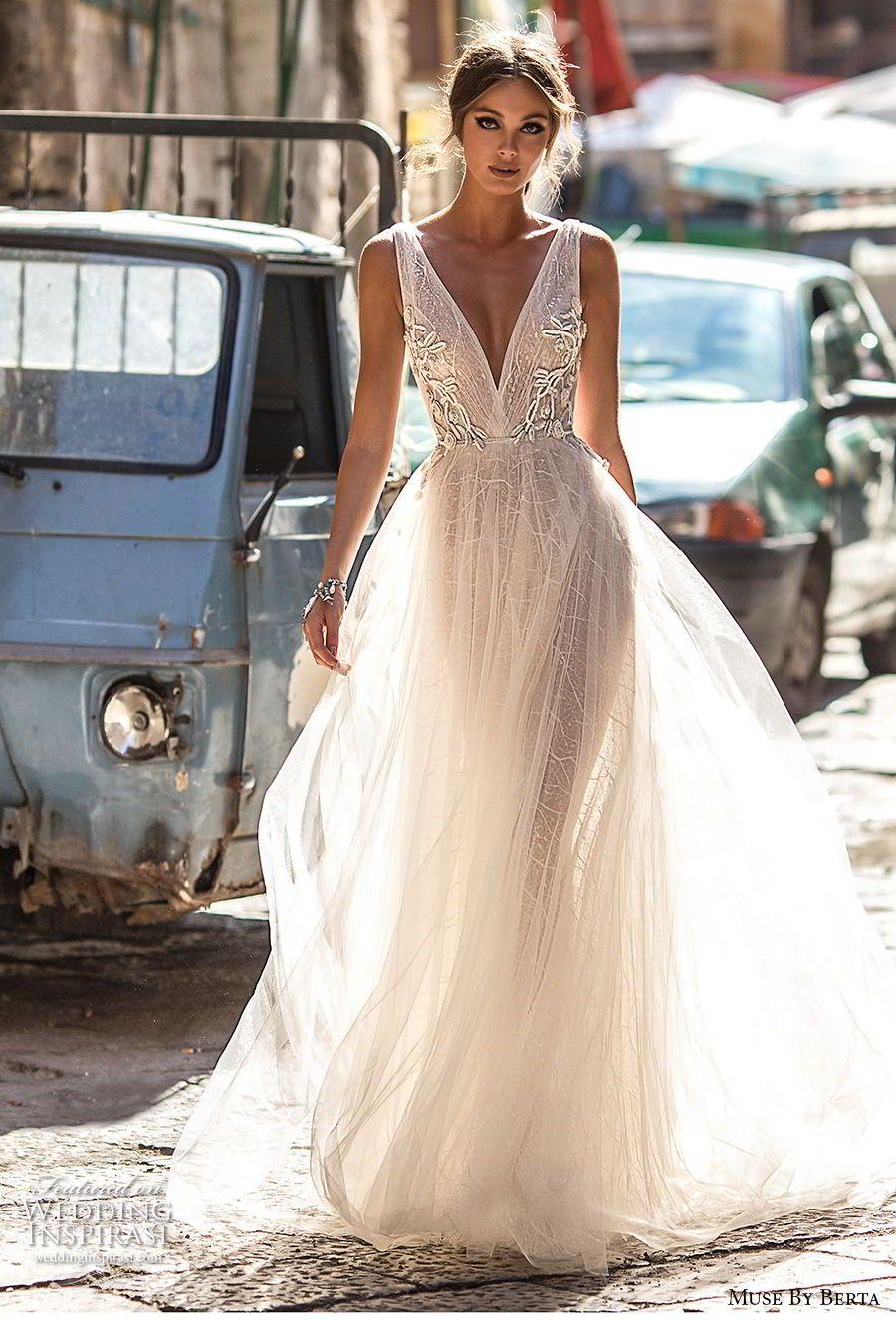 muse berta 2018 bridal sleeveless deep v neck lightly embellished bodice tulle skirt romantic soft a  line wedding dress open v back medium train (4) mv -- Muse by Berta 2018 Wedding Dresses