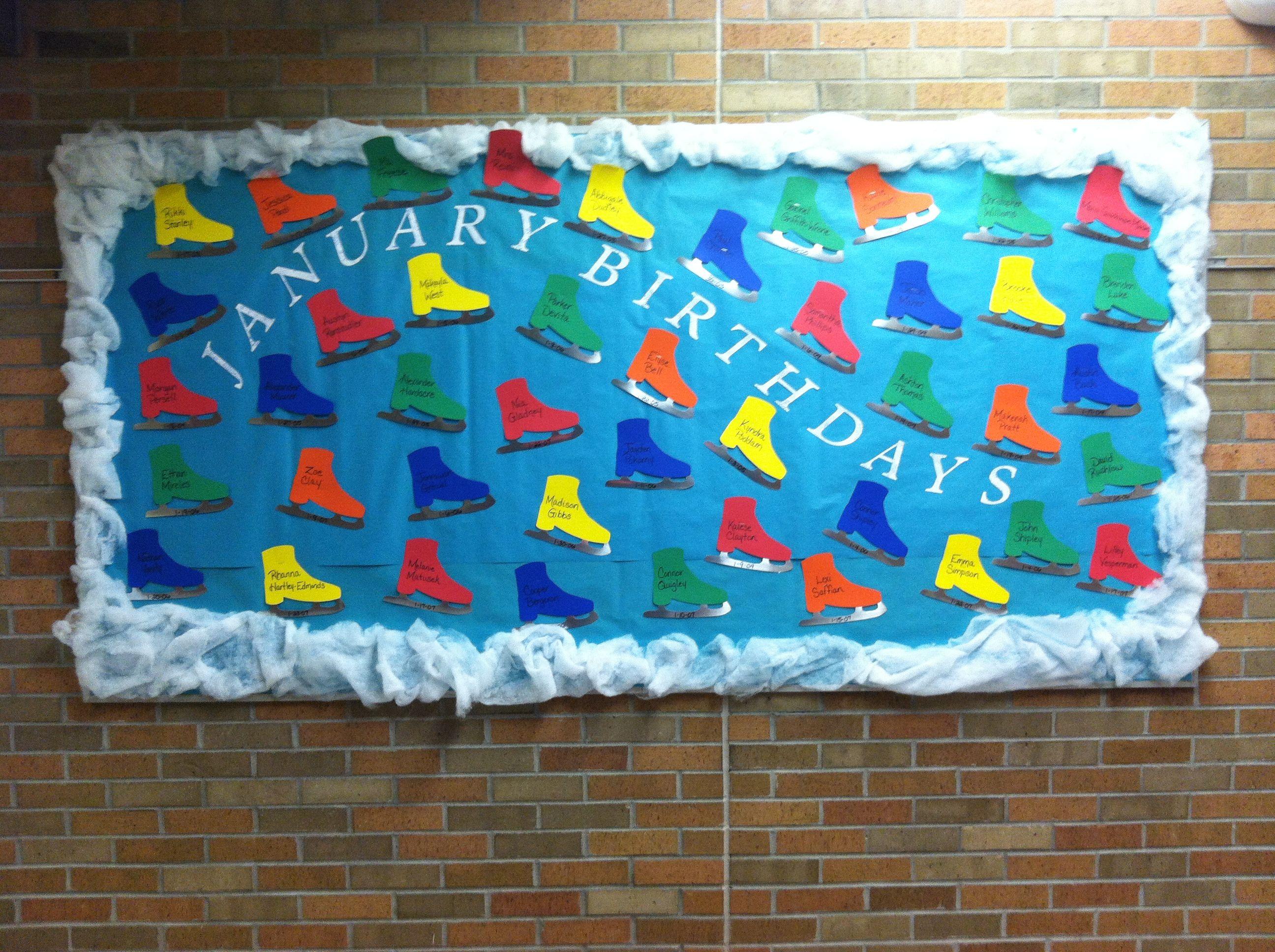 Classroom Bulletin Board Ideas For January : Cute ice skates for january s birthday bulletin board