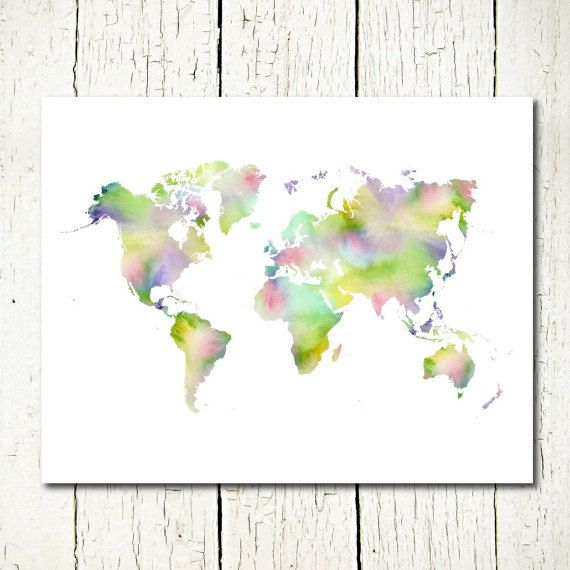 World map watercolor world map printable world map instant world map watercolor world map printable world map instant download world map wall decor digital sciox Gallery