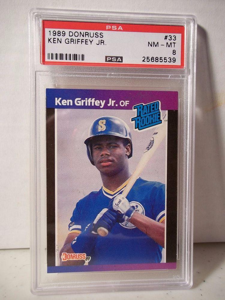 fdd43b9c75 1989 Donruss Ken Griffey Jr Rookie PSA Graded NM-MT 8 Baseball Card #33 MLB  #SeattleMariners