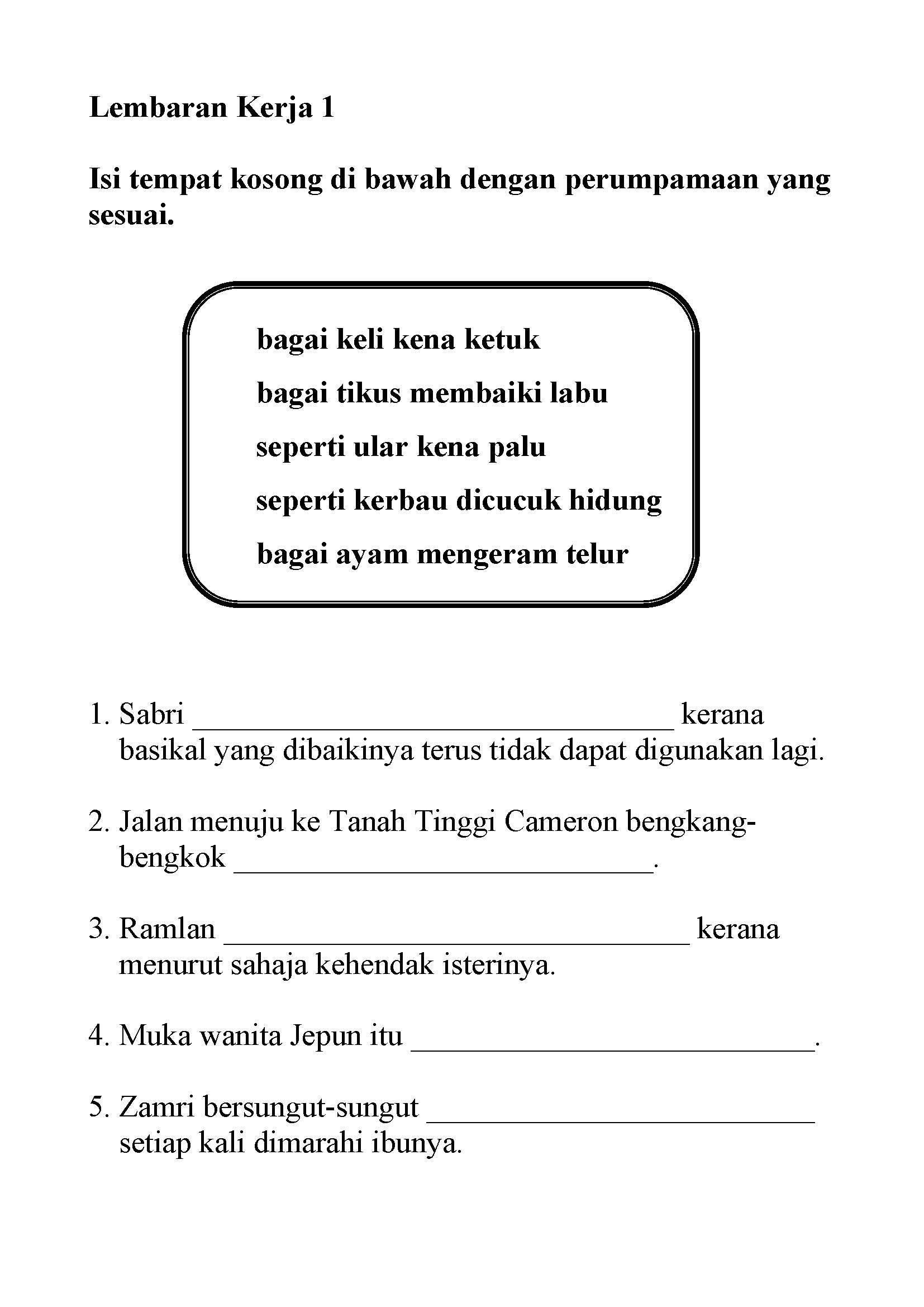 Year 1 Malay Tata Bahasa Worksheet Printable Worksheets And Activities For Teachers Parents Tutors And Homeschool Families